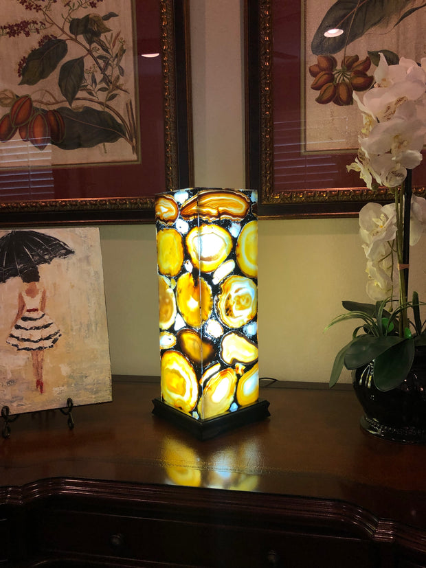 "Handmade Brazilian Agate Lamp, LED w/ dimmer, wooden base, 19"" Tall"