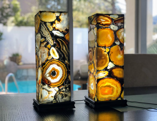 "Handmade Natural Agate Lamp, dimmable LED, 19"" tall, wooden base (2007-0002)"