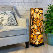 "Handmade Natural Agate LED Floor Lamp, 33"" Tall, w/ wooden base (2009-0003)"