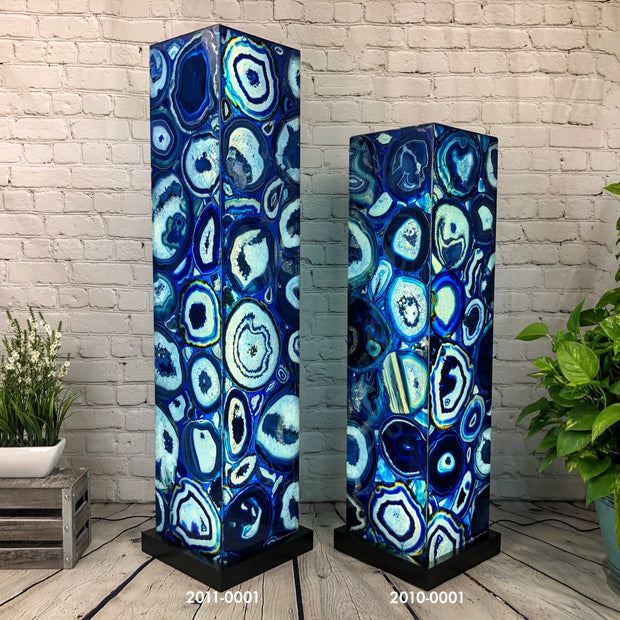 "Handmade Blue Agate Floor Lamp, Dimmable LED, 44"" Tall, w/ wooden base (2010-0001)"