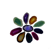 "Polished Natural and Dyed Agate Slices, mixed colors, top pendant hole, 1.5"" to 3"", 10 slices (5053)"