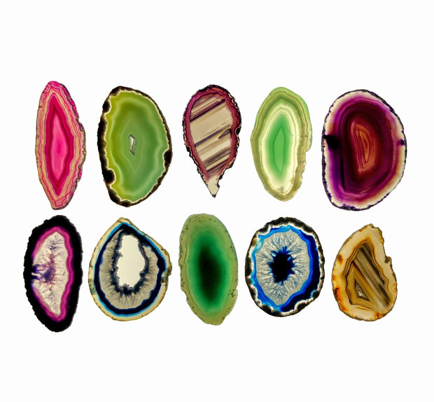 "Mixed Brazilian Natural & Dyed Agate slices Mix, 1.5"" to 3"", 10 pieces"