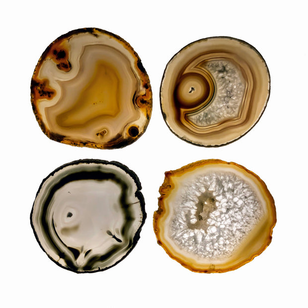 "Brazilian Natural Agate Coasters, 2.75"" to 3.5"" each, 4-piece set"