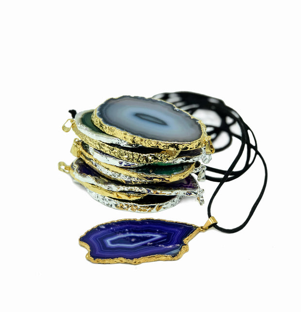 Mixed colors Agate pendant slices, gold & silver edges, natural & dyed