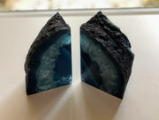 "Brazilian Agate Stone Bookend Dyed Blue, 5"" tall and 6.8 lbs heavy"