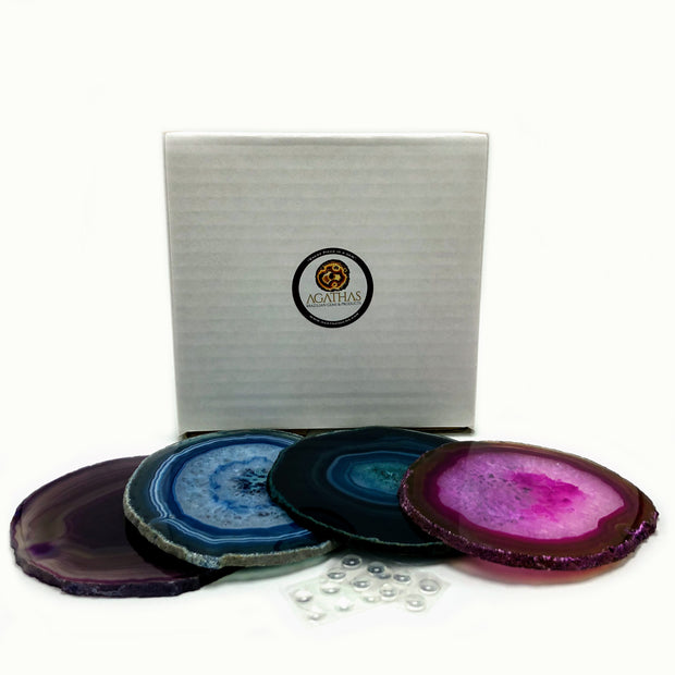 "Agate Coaster set, Dyed color mix, Polished, 3.5"" to 4"" each, 4-piece set (5203-0003)"
