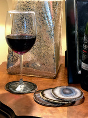 "Large Natural Brazilian Agate Coasters, 3.5 to 4.5"" each, 4-piece set"