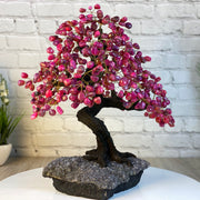 "Handmade Pink Agate Gemstone Tree w/ Amethyst base, 20"" tall, 540 gemstones (5406-0024)"