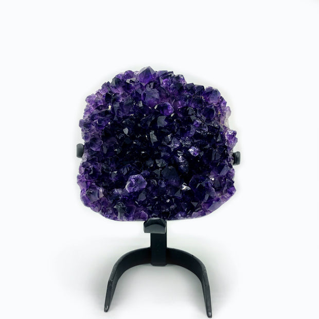 "Amethyst cluster on metal stand, 9"" tall, 6.9 lbs, polished"