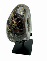 "Natural polished Agate stone on metal stand, 5.94 lbs, 6.5"" tall"