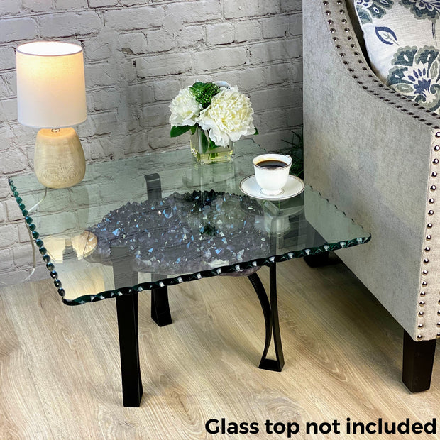 "Extra Quality Amethyst Coffee Table, 44 lbs & 15.75"" tall, black metal base (1385-0013)"