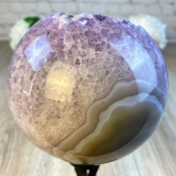 "Spinning Brazilian Amethyst Sphere, 5"" diameter and 10.3"" tall (5607-0003)"