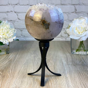 "Spinning Brazilian Amethyst Sphere, 5.25"" diameter and 10.75"" tall (5607-0004)"
