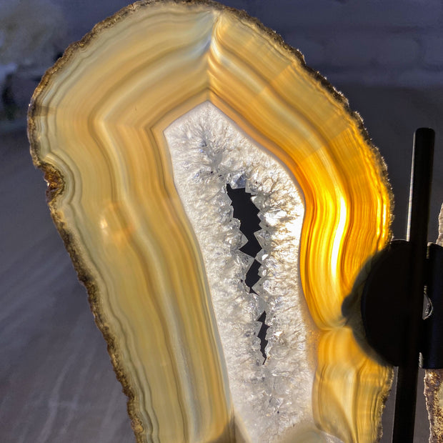 "Natural Brazilian Agate ""Butterfly"" Slices, Metal Stand, 6.4"" Tall and 7"" wide (5050-0001)"
