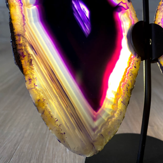 "Brazilian Purple Agate ""Butterfly"" Slices, Metal Stand, 6.75"" Tall and 7.5"" wide (5050-0002)"