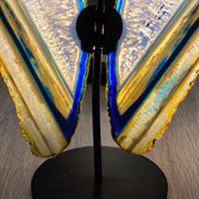 "Brazilian Blue Agate ""Butterfly"" Slices, Metal Stand, 6.75"" Tall and 7.25"" wide (5050-0004)"
