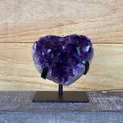 Heart-shaped Amethyst geode on metal stand, Polished edges, (5463-0006)