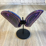 "Brazilian Purple Agate ""Butterfly"" Slices, Metal Stand, 6.5"" Tall and 7.25"" wide (5050-0009)"