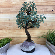 "Large Handmade Gemstone Tree, Green Quartz Gems, 25"" tall, 144 branches and 720 gemstones (5407-0004)"