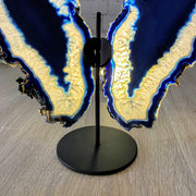 "Brazilian Blue Agate ""Butterfly"" Slices, Metal Stand, 7.5"" Tall and 10"" wide (5050-0012)"