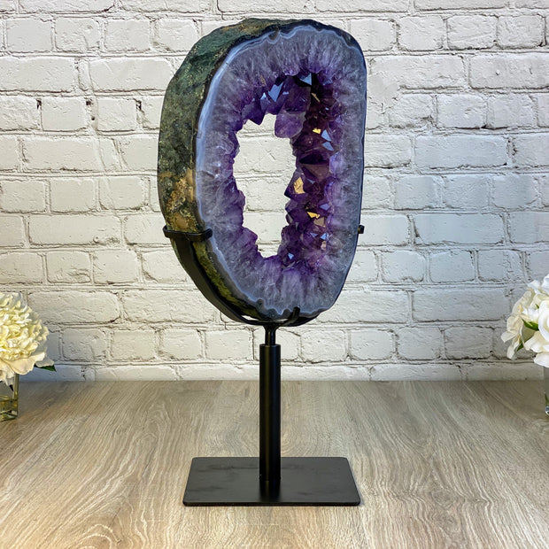 "Large Brazilian Amethyst Druse on Rotating base, 21.5"" tall & 27.42 lbs (5604-0018)"