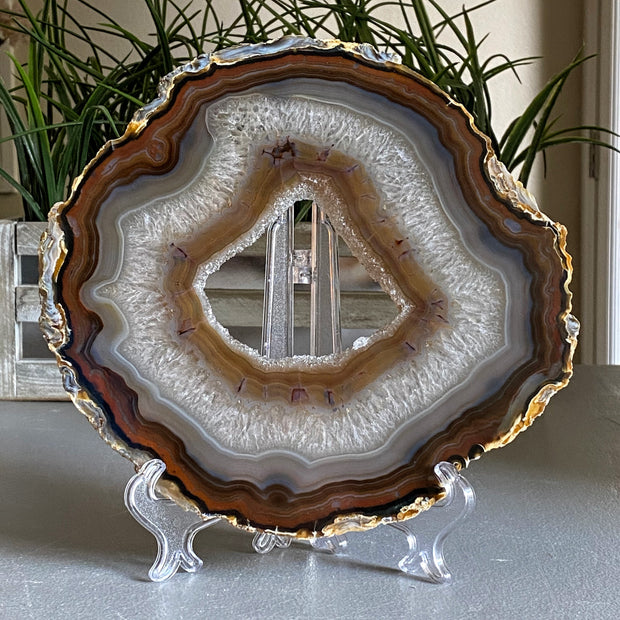 Natural Brazilian Agate Slices w/ acrylic stand (5055-0011)