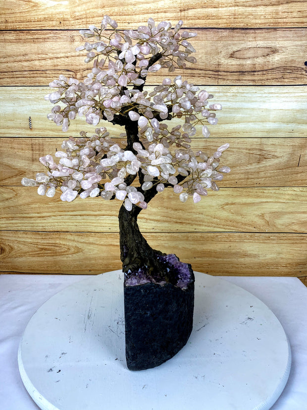 "Large Handmade Gemstone Tree, Pink Quartz Gems, 26"" tall, 144 branches and 720 gemstones (5407-0006)"