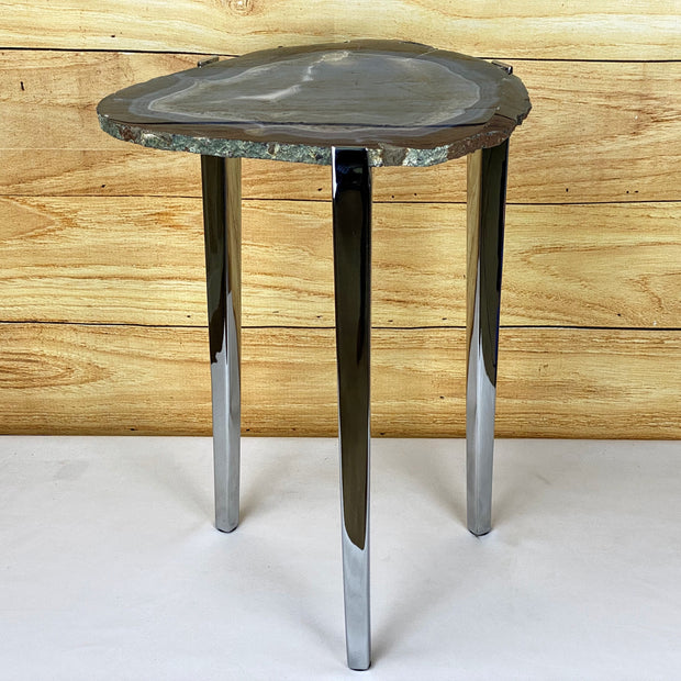 "Natural Brazilian Agate side table, single slice on stainless steel base, 22"" tall (1305-0020)"