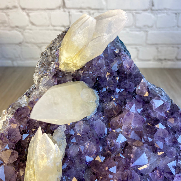 "Rare Amethyst Cluster w/ Calcite Formations on stand, 11"" tall, 11.5 lbs (5491-0005)"