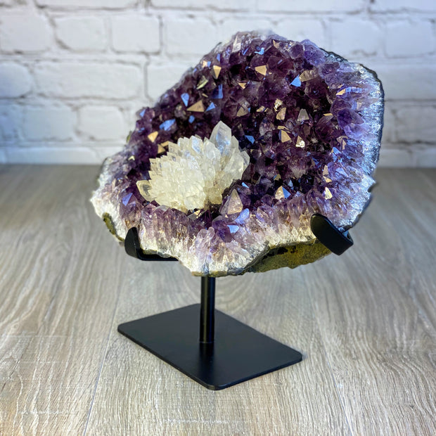 "Rare Amethyst Cluster w/ Calcite Formations on stand, 10"" tall, 14 lbs (5491-0007)"