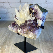 "Rare Amethyst Cluster w/ Calcite Formations on stand, 11.5"" tall, 20 lbs (5491-0008)"