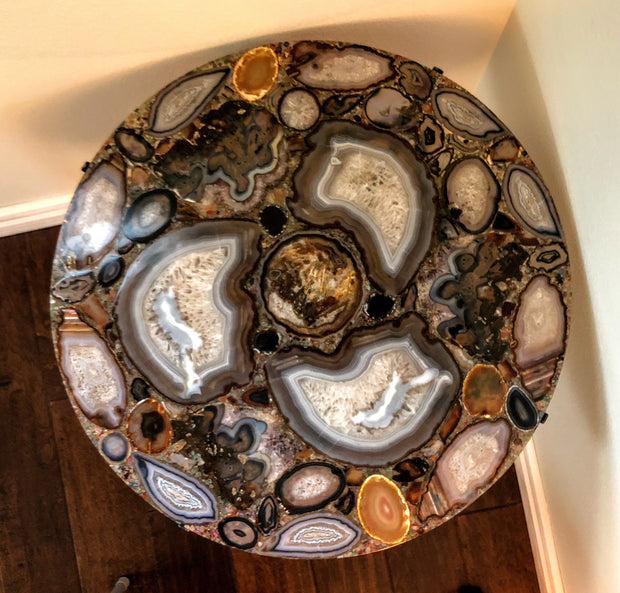 "Handmade Natural Agate Table, round, 28"" diameter, one-of-a-kind (1001-0001)"