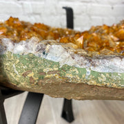 "Brazilian Citrine Geode Table, 44 lbs, 18"" tall on black metal base (1386-0003)"
