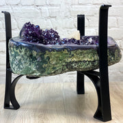 "Extra Quality Amethyst Coffee Table, 83.3 lbs & 15.75"" tall, black metal base (1385-0015)"