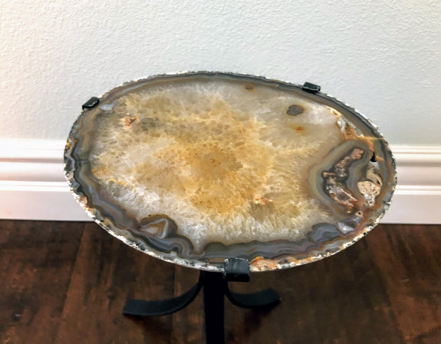 "Natural Agate stone side table, 0.75"" thick slice on black metal base"