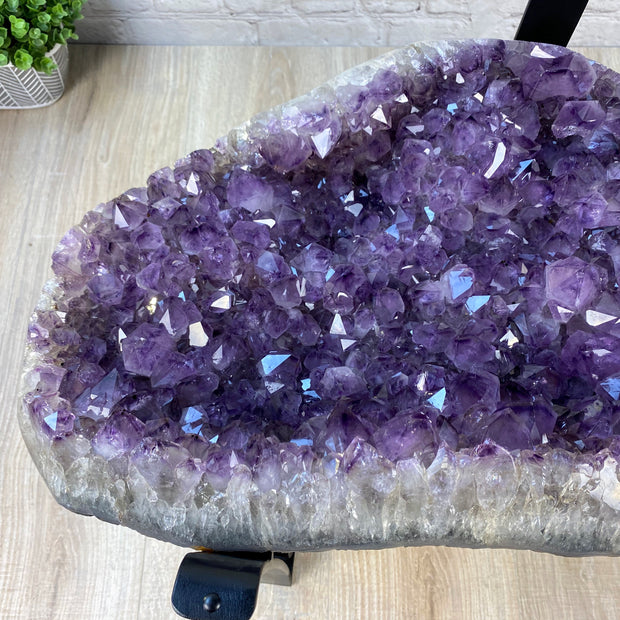 "Extra Quality Amethyst Coffee Table, 76 lbs & 15.75"" tall, black metal base (1385-0014)"