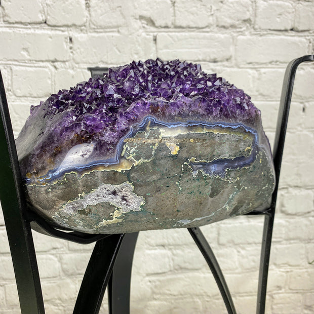 "Quality Amethyst Geode Table, 54 lbs & 24"" tall on black metal base, no glass top (1385-0009)"