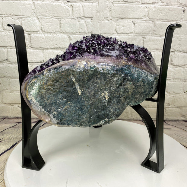 "Quality Amethyst Geode Coffee Table, 92 lbs & 16"" tall on black metal base, no glass top (1385-0010)"
