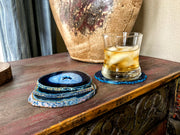 Blue Agate Coasters w/ silicone bumpers, agate products, agate slices