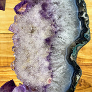 "Amethyst Druse Slice on black metal stand, 16.5"" tall & 10.6 lbs (5606-0002)"