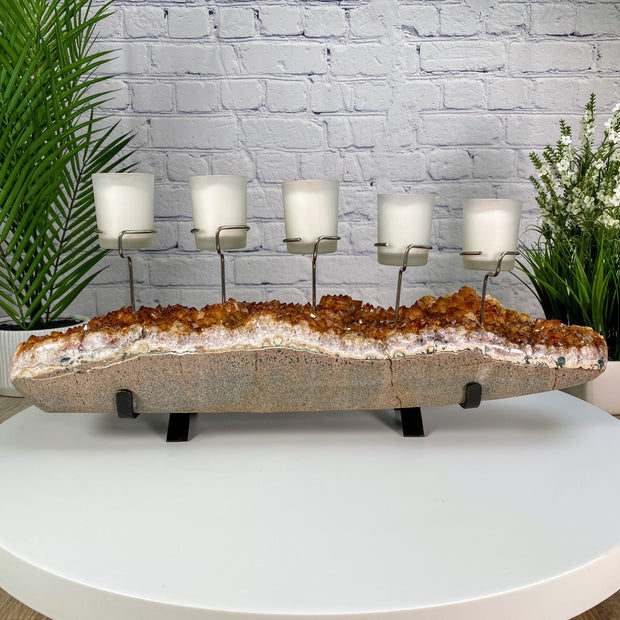 "Citrine Candelabra w/ 5 candleholders, 21"" long & 27 lbs weight w/ metal base (5559-0001)"