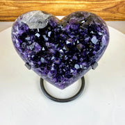 "Quality Amethyst Heart geode on metal stand, Polished edges, 7.25"" tall & 6.8 lbs (5463-0018)"