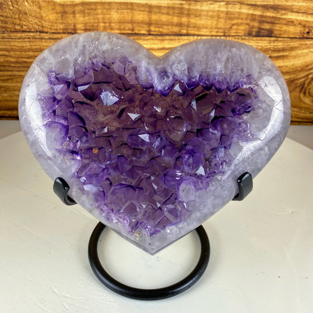 "Quality Amethyst Heart geode on metal stand, Polished edges, 8.1"" tall & 9.2 lbs (5463-0019)"