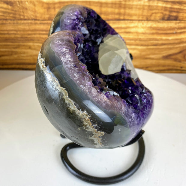 "Quality Amethyst Heart geode on metal stand, Polished edges, 9.25"" tall & 11.6 lbs (5463-0020)"