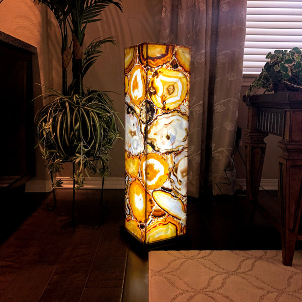 "Handmade Natural Brazilian Agate Lamp, LED, 33"" Tall, w/ wooden base"