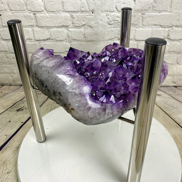 "Quality Amethyst Geode Coffee Table, 47 lbs & 18"" tall on a chrome base (1387-0004)"