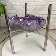 "Quality Amethyst Geode Coffee Table, 35 lbs & 18"" tall on a chrome base (1387-0003)"