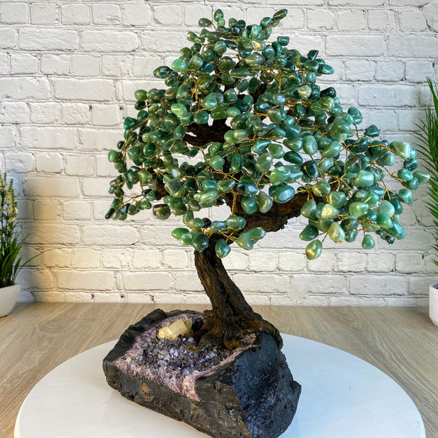 "Large Handmade Gemstone Tree, Green Quartz, 25"" tall, 144 branches and 720 gemstones (5407-0013)"