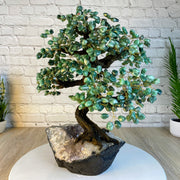 "Large Handmade Gemstone Tree, Green Quartz Gems, 24"" tall, 144 branches and 720 gemstones (5407-0014)"