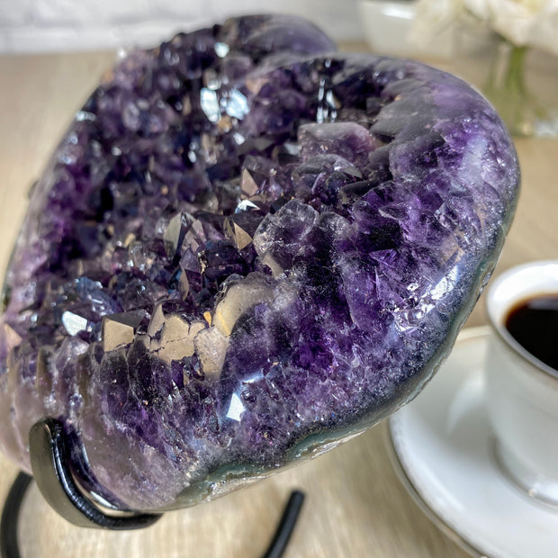 Extra Quality Heart-shaped Amethyst geode, metal stand, 5.45 lbs (5463-0032)